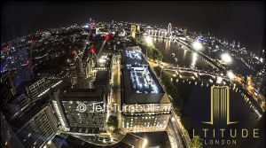 Night time Architecture Photography from Altitude London